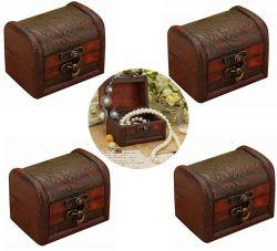 Mini Vintage Jóias Pearl Tesouro Bracelete Colar de Tórax Caixa de armazenamento da caixa de madeira (Padrão Aleatório)