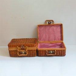金属ロックが付いている記憶のバスケットの装飾的なLidded柳細工ボックス
