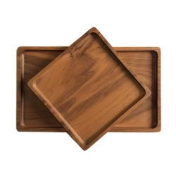 Paletes de madeira rectângulo copo de água para preparar chá e café que serve a bandeja de madeira