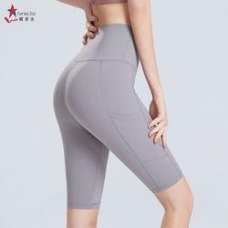 Telas High-Grade fuera Pocket Yoga breve Barriga Ejercicios de control de la ejecución de Athletic de cintura alta Yoga cortos