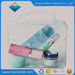 Les produits cosmétiques package personnalisé poignée en plastique transparente en PVC bag avec fermeture à glissière