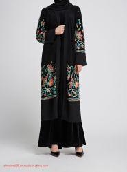 Kim Kardashian moda quimono bordado negro frente abierto Kaftan Abaya Abaya musulmán Primavera Mujer Cardigan Maxi vestido abierto Puntilla aplique elegantes señoras Outwear