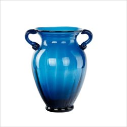 花を飾るための2つの耳を搭載する最もよい価格のAmphoraのホーム装飾の芸術およびクラフトの青いガラスつぼ