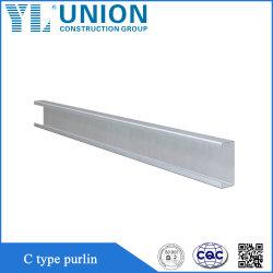 Material de metal estrutura de aço galvanizado Tipo C Terça formando a frio