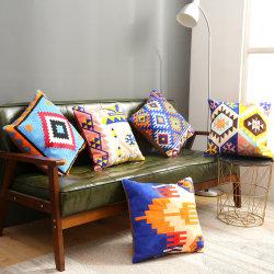 Nuevo Bohemian geométricas multicolores bordada de algodón Inicio sofás funda de cojín