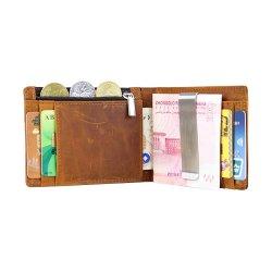 Clip de dinero auténtico RFID Cartera de cuero para hombres