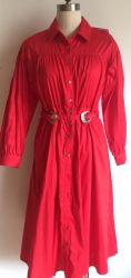 立場カラー女性の服のための長い袖の綿ポプリンのスパンデックス