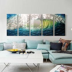 Het met de hand gemaakte Blauwe 3D Decoratieve Olieverfschilderij van de Kunst van de Muur van het Metaal Seawave