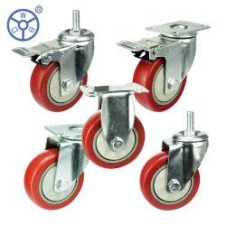 Proveedor de Amazonas 4 pulgadas de la placa giratoria de PVC de bloqueo/PU ruedas orientables Altas prestaciones industriales Ruedas con freno y tapa