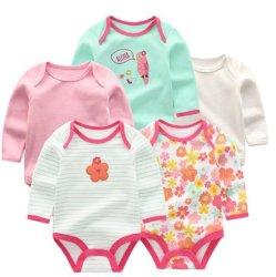 Neugeborener Baby-Bodysuit-kleidet langes Hülsen-BaumwollBaby-Mädchen neugeborene Karosserien-Baby Infantil Kleidung