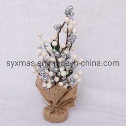 Nouveau design en usine est blanche et argentée Berry le tableau de l'arbre de Noël