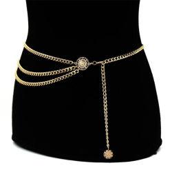 여자 형식 벨트 복장 치마와 외투를 위한 진보적인 높은 허리 금 소폭 금속 사슬 땅딸막한 프린지