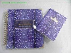 Kundenspezifisches Deckel-Organisator-Tagesordnungs-Planer-farbenreiches Drucken des Geschenk-Kasten-verpackengolddraht-O verklemmter harter