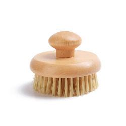 Cerdas vegano de Sisal Natural Hayedo de forma redonda mango de madera de bambú cuerpo seco cepillo de baño para mujeres