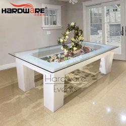 Mariage de meubles en métal acrylique blanc feux à LED Table à manger de luxe