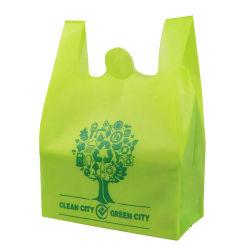 Supermercado utiliza el logo impreso personalizado sin fuelle verde Ecológico no tejido de compras la bolsa de camiseta