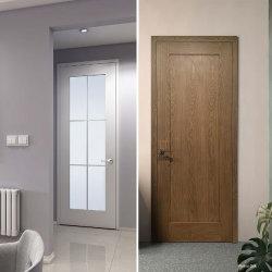 Moderno personalizadas chapas de madera de roble blanco/agitador de núcleo sólido Prehung Panel de madera Puertas INTERIOR Puertas interiores con vidrio para dormitorios