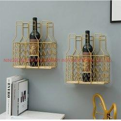 Belo Vinho de Metal Ouro prateleira para a decoração de paredes