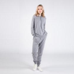 Nueva llegada Aurora-100% Cachemir real de la mujer estilos clásicos más populares de la sudadera con capucha con Señoras Ocio Cashmere pantalones