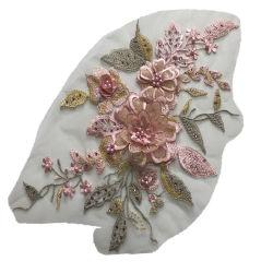 il motivo del ricamo dell'annata delle zone di Applique del merletto del fiore dei fiori 3D cuce sul mestiere dei costumi di ballo del vestito dalla festa nuziale