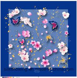 方法習慣は100%の絹の装飾的なヘッド絹のスカーフファブリックを印刷した