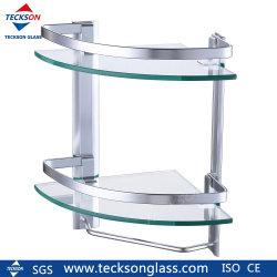 Mensola d'angolo triangolare rotonda quarta di vetro Tempered per la stanza da bagno
