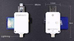 외부 장치 OTG USB iPhone와 Andorid 전화 (OM-P905)를 위한 마이크로 SD와 SD 카드 판독기 지원
