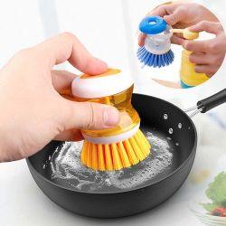 食器洗いの液体石鹸ディスペンサーの結め換え品のクリーニングのごしごし洗うツールが付いている皿のブラシ