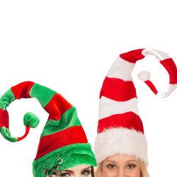 1PC 재미난 파티 크리스마스 모자 긴 줄무늬가 포근한 느낌을 줍니다 ELF HAT 홀리데이 테마 모자 크리스마스 파티 액세서리 U3