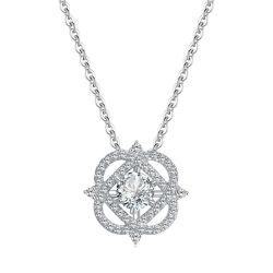 18K ارتباط الورد الذهبي الأبيض قلادة ماسية وشراحات للنساء المجوهرات 14K 9K 10K