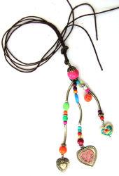 L'émail Knoted Multi coeur MWNL Cordon de cire necklace (090188)