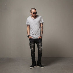 Boa qualidade angustiado de denim elásticas Mens Jeans
