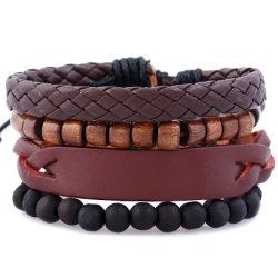 Бусины украшения браслет манжеты из натуральной кожи для мужчин
