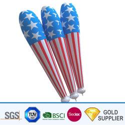 Mais barato grossista logotipo personalizado imprimindo PE luz de plástico de desenhos animados insufláveis suas portinholas Noisemaker brinquedo balão de ar torcendo Toque Toque Bang Bang Sticks para eventos