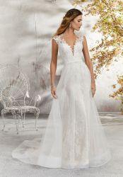 Tulle eine Zeile reizvoller v-Stutzen-Brauthochzeits-Kleid-blosses Spitze-Mieder-Hochzeits-Kleid