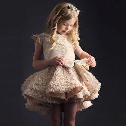 Vestito dalla ragazza della principessa fiore dell'abito di cerimonia nuziale dei bambini