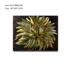 Gele Gold Chrysanthemum Bloem 3D Metal Oil Painting Groothandel uit China Factory modern Home Dec