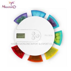 7つの虹7コンパートメント1つの週のスマートなメモ携帯用アラームデジタル丸薬ボックス11*11*2cm