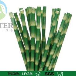 Eco-Friendly 칵테일 대나무 마시는 서류상 밀짚 6*150mm