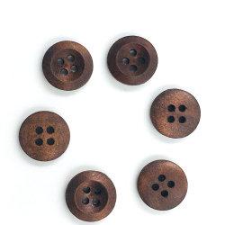 La ropa al por mayor de los botones 4 agujeros redondos el botón de madera personalizado