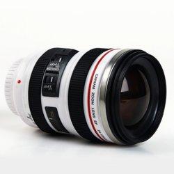 De Koffie van het Roestvrij staal van de Rang van het voedsel drinkt de Kop van het Water met de Lens van de Camera SLR