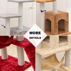Albero rampicante moderno del gatto della torretta della mobilia di Scratcher dell'animale domestico della graffiatura del castello all'ingrosso del sisal della fabbrica grande grande