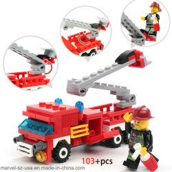 O combate ao fogo caminhões 4 em 1 blocos de construção de barcos de helicóptero brinquedos educativos carros