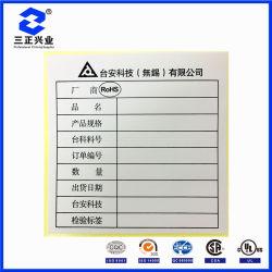 Diseñan escribible RoHS papel adhesivo de Certificado de inspección