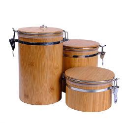 De bonne qualité cuisine personnalisé de gros de la boîte de rangement alimentaire ronde thé café de sucre de bambou Canister