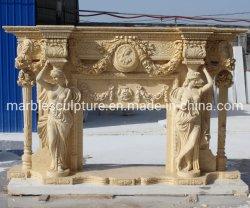 花(SY-MF178)を持つStatue Carved Marble Fireplaceコラムの女性