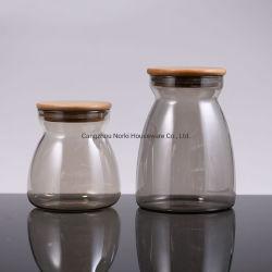 Glasnahrungsmittelspeicher-Glas mit Bambuskappe für Zuckerplätzchen