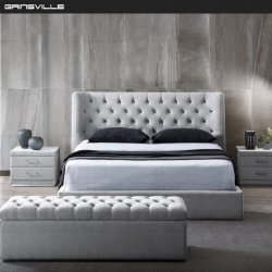 Vendedor Superior Cama de matrimonio modernos muebles de dormitorio con almacenamiento GC1726