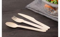 Compostable木のフォークのスプーンのナイフの平皿類
