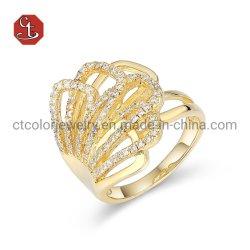 Anéis de moda 925 Libra Esterlina banhado a ouro de prata/Rosa/Branco do banhado a ouro CZ mulheres jóias de anéis para dom